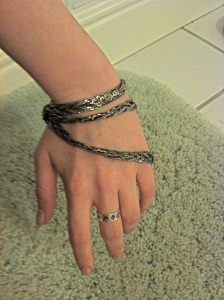 Dark Silver Four-Chain Braided Necklace as Bracelet